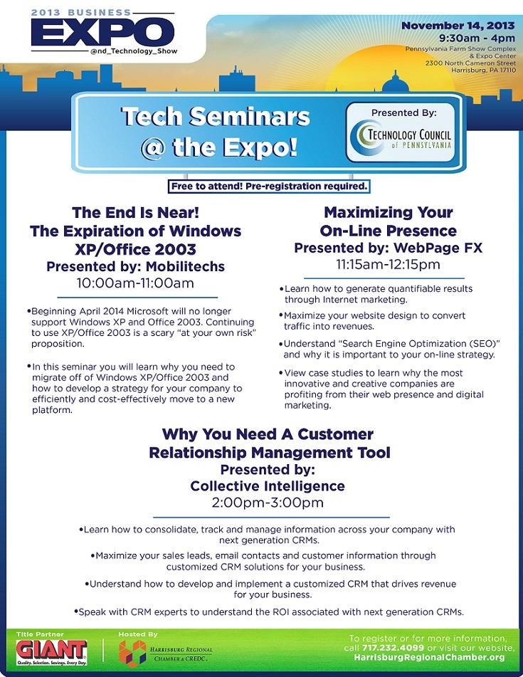 2013 harrisburg regional chamber credc business expo tech seminars